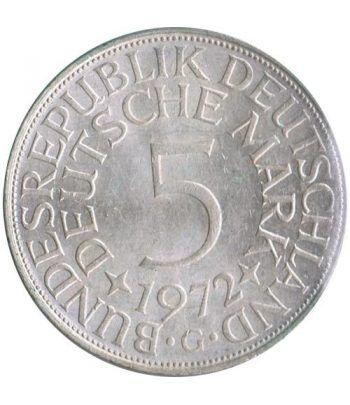 Moneda de Plata 5 Marcos Alemania 1972 G.  - 1
