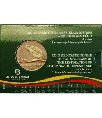 Moneda de Lituania 5 Euros 2015. 25º Aniversario Independencia.  - 1