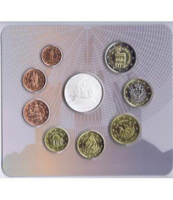 Cartera oficial euroset San Marino 2015 + 5€ (plata).  - 2