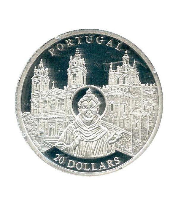 Moneda de plata 20$ Liberia 2001. Iglesia de Portugal.  - 1