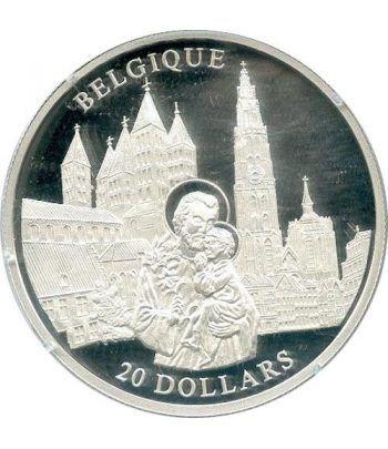 Moneda de plata 20$ Liberia 2001. Iglesia de Belgica.  - 1