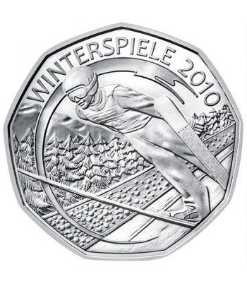 moneda Austria 5 Euros 2010 nueve esquinas. Ski. Plata.  - 1