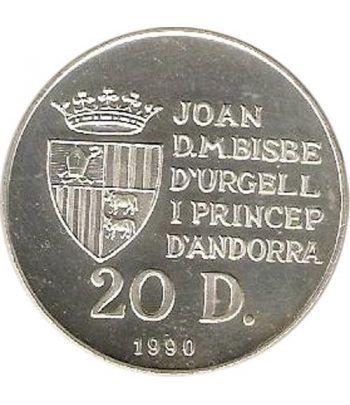 Moneda de plata 20 Diners Andorra 1990 Salto a Caballo.  - 2
