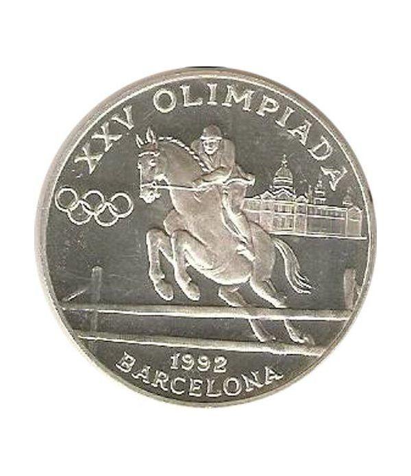 Moneda de plata 20 Diners Andorra 1990 Salto a Caballo.  - 1