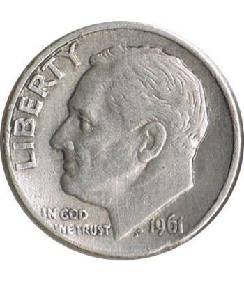 Moneda de plata 1 Dime Estados Unidos Roosevelt 1961 D.  - 1