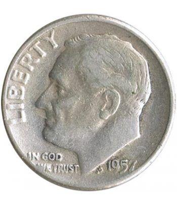 Moneda de plata 1 Dime Estados Unidos Roosevelt 1957.  - 1