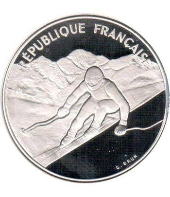 Moneda de plata 100 Francos Francia 1989 Albertville'92 Ski  - 1