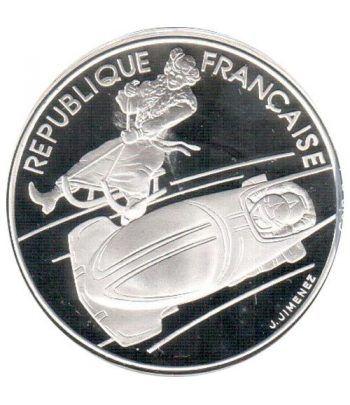 Moneda de plata 100 Francos Francia 1990 Albertville'92 Bobsleig  - 1