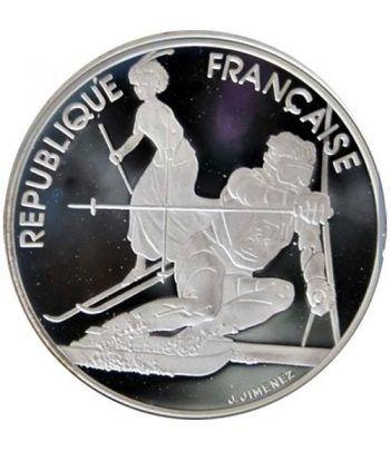 Moneda de plata 100 Francos Francia 1990 Albertville'92 Slam.  - 4