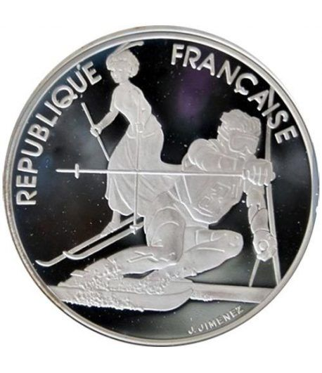 Moneda de plata 100 Francos Francia 1990 Albertville'92 Slam.  - 1