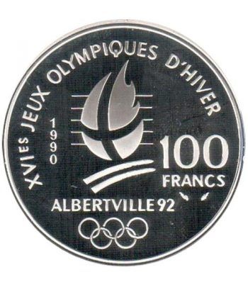 Moneda de plata 100 Francos Francia 1990 Albertville'92. Ski  - 2
