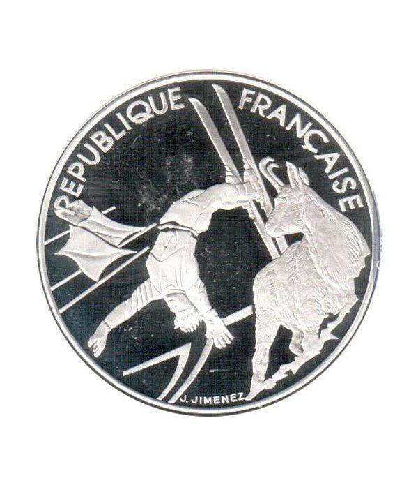 Moneda de plata 100 Francos Francia 1990 Albertville'92. Ski  - 1