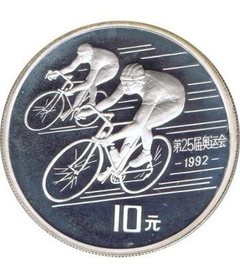 Moneda de plata 10 yuan China 1990 Barcelona 92 Ciclismo.  - 1