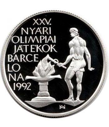 Moneda de plata 500 Forint Hungria 1989 Barcelona 92 Llama.  - 1