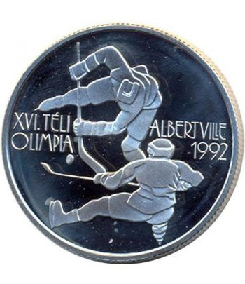 Moneda de plata 500 Forint Hungria 1989 Albertville 92 Hockey.  - 1
