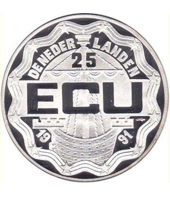 Moneda de plata 25 Ecu Holanda 1991 Beatrix. Proof.  - 2