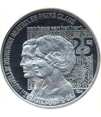 Moneda de plata 25 Ecu Holanda 1991 Beatrix. Proof.  - 4