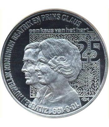 Moneda de plata 25 Ecu Holanda 1991 Beatrix. Proof.  - 1