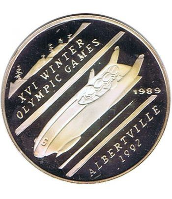 Moneda de plata 500 Afghanis Afganistan 1989 Albertville 92.  - 1