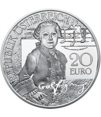 moneda Austria 20 Euros 2015 Mozart. Wolfgang niño.  - 1