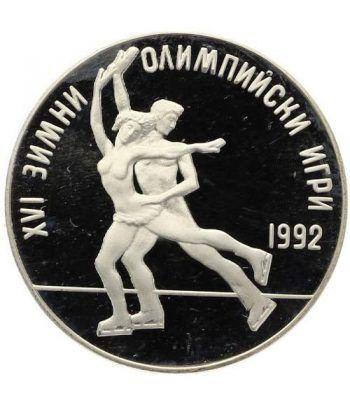Moneda de plata 25 Leva Bulgaria 1989 Albertville'92 Patinaje  - 1