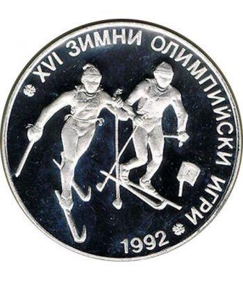 Moneda de plata 25 Leva Bulgaria 1990 Albertville'92 Ski  - 1