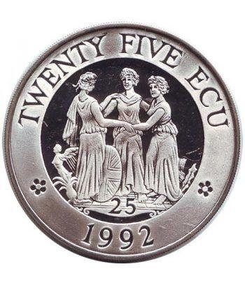 Moneda de plata 25 Ecu Gran Bretaña 1992 Europa Piedfort.  - 1