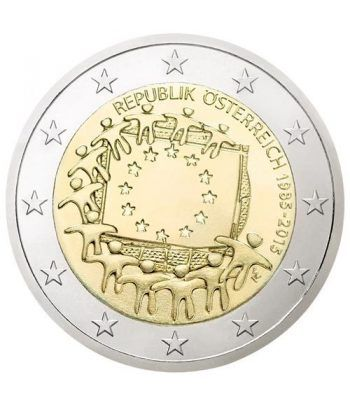 moneda Austria 2 euros 2015. 30 Años bandera de Europa.  - 2
