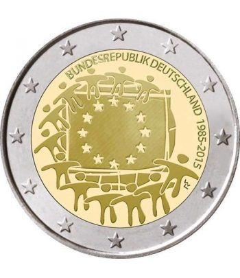 moneda Alemania 2 euros 2015. 30 Años bandera de Europa. 5 cecas  - 2