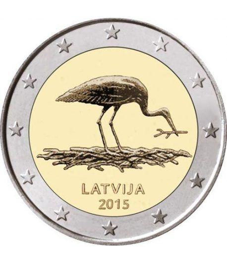 moneda conmemorativa 2 euros Letonia 2015 Cigüeña Negra.  - 2