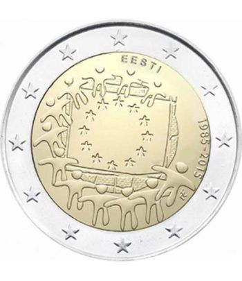 moneda Estonia 2 euros 2015. 30 Años bandera de Europa.  - 2