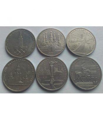 Monedas Rusia 1 Rublo 1977-1980 JJOO Moscú 1980. 6 monedas.  - 2