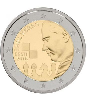 moneda conmemorativa 2 euros Estonia 2016 Paul Keres.  - 2