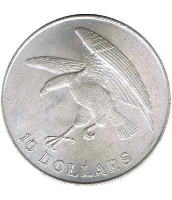 Moneda de plata 10$ Singapur 1973 Aguila y escudo.  - 1