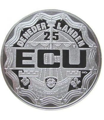 Moneda de plata 25 Ecu Holanda 1992 Rey Guillermo I. Proof.  - 2
