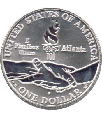 Moneda de plata 1$ Estados Unidos Atlanta Paralimpicos 1995.  - 2