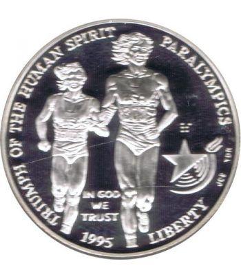 Moneda de plata 1$ Estados Unidos Atlanta Paralimpicos 1995.  - 4