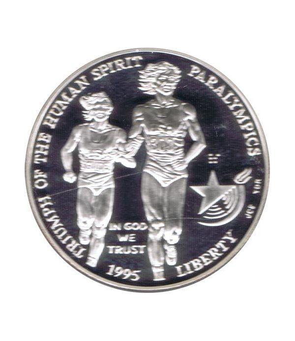 Moneda de plata 1$ Estados Unidos Atlanta Paralimpicos 1995.  - 1