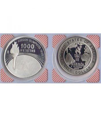 Monedas de plata 1000 Ptas y 1/2 Dollar Atlanta 96. 2 monedas.  - 1