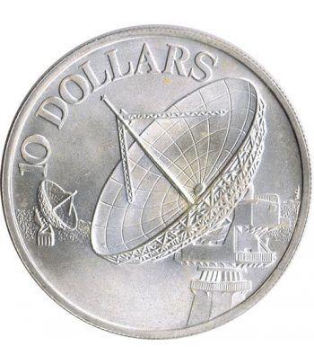 Moneda de plata 10$ Singapur 1978 Satelites Telecomunicación.  - 1