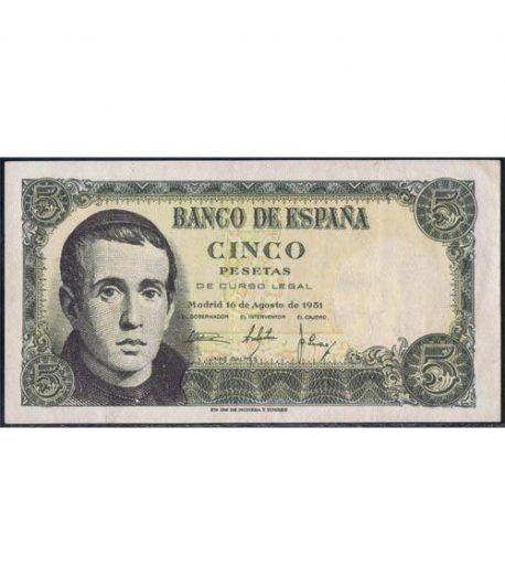 (1951/08/16) Madrid. 5 Pesetas. EBC.  - 1