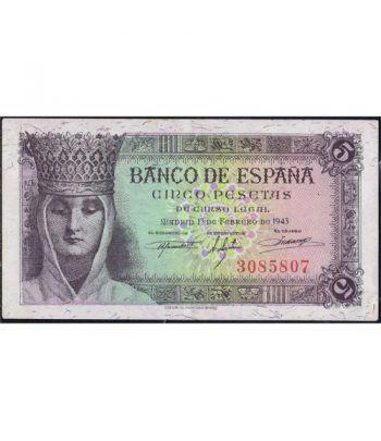 (1943/02/13) Madrid. 5 Pesetas. EBC+. Sin Serie 3085807.  - 4