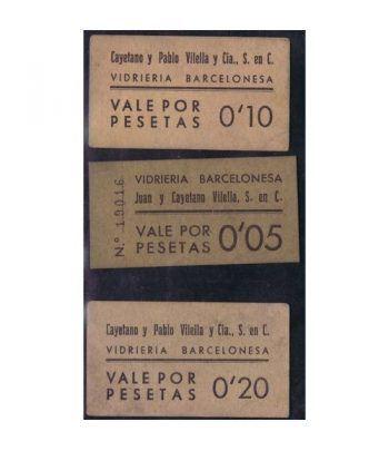 Vales por 5, 10 y 20 centimos Vidrieria Barcelonesa.  - 2