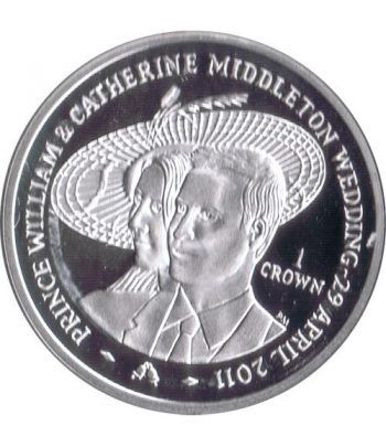 Moneda de plata Boda Real 1 Crown Man 2011. Proof.  - 1