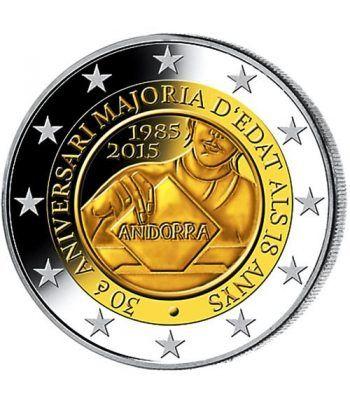 moneda conmemorativa 2 euros Andorra 2015 Mayoria edad. BU.  - 1