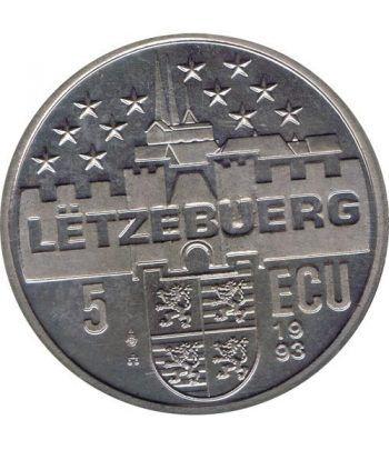 Moneda 5 Ecu Luxemburgo 1993 Gran Duque. Cuproníquel.  - 2