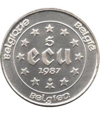 Moneda de plata 5 Ecus Belgica 1987.  - 2