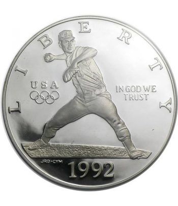 Moneda de plata 1$ Estados Unidos Atlanta Baseball 1992.  - 1