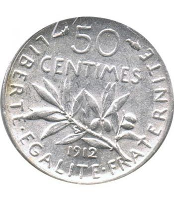 Moneda de plata 50 centimos Francia 1912.  - 2