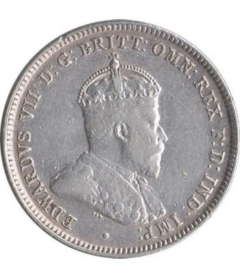 Moneda de plata One Shilling Australia 1910.  - 1